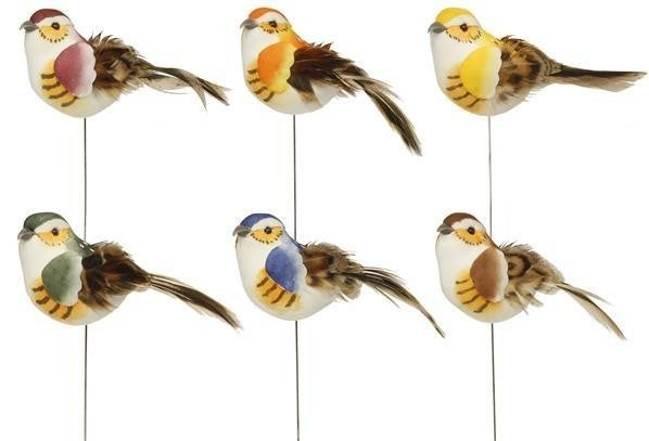 "2.5""L Feather Bird W/Wire (Dozen)"