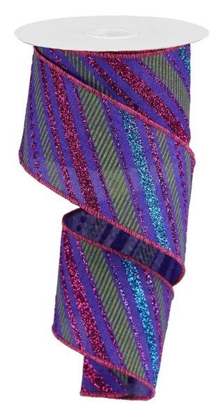 "2.5""X10yd Multi Diagonal Stripes/Royal Color: Purple/Hot Pink/Turq/Lime"