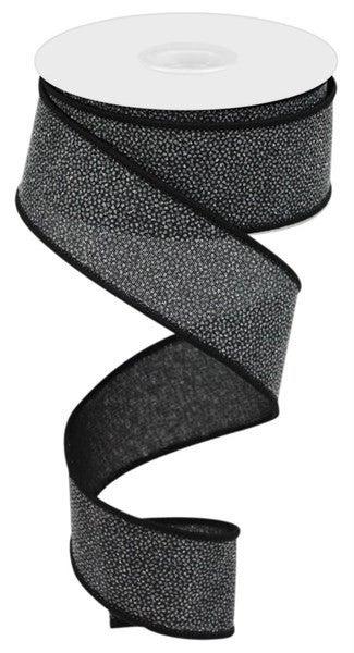 "1.5""X10yd Glitter On Royal Burlap Black"