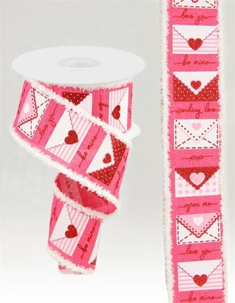 """2.5""""X10yd Love Letters/Royal/Drift Color: Hot Pink/White/Red/Pink"""