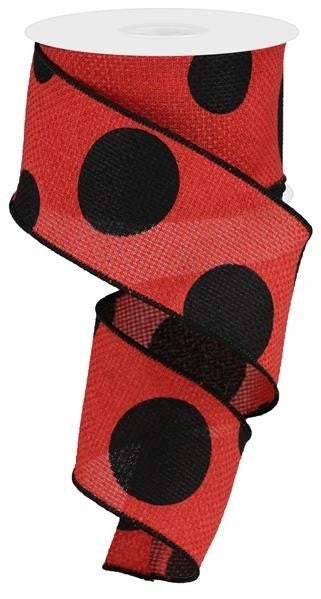 "2.5""X10YD LARGE POLKA DOT/CROSS ROYAL RED/BLACK"
