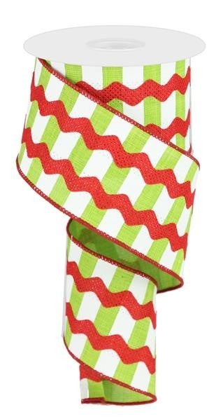 "2.5""X10YD FANCY RICRAC ON STRIPES LIME/WHITE/RED"