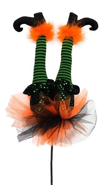 "22""H X 9""W Witch Legs Décor W/Stick Green/Black/Orange"