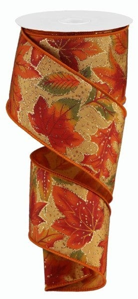 """2.5""""X10yd Autumn Leaves/Glitter On Satin Color: Rust/Org/Ylw/Grn/Gold"""