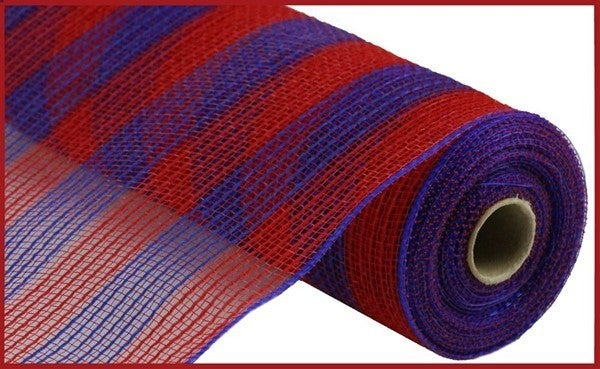 "10.5""X10YD FAUX JUTE/PP SMALL STRIPE Color: Red/Royal Blue"