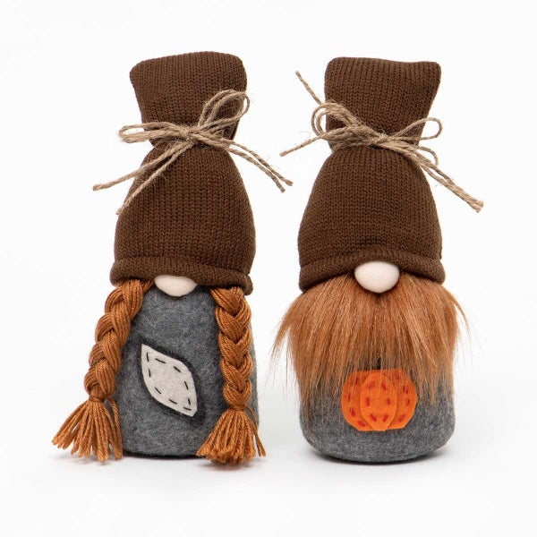FALL HARVEST COUPLE GNOME WITH BROWN SWEATER HAT, TWINE BOW & RED HAIR
