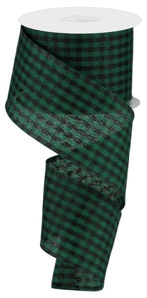 "2.5""X10yd Gingham Check Emerald Green/Black"
