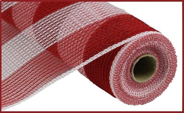 "10.5""X10yd Faux Jute/Pp Wide Stripe Red/White"