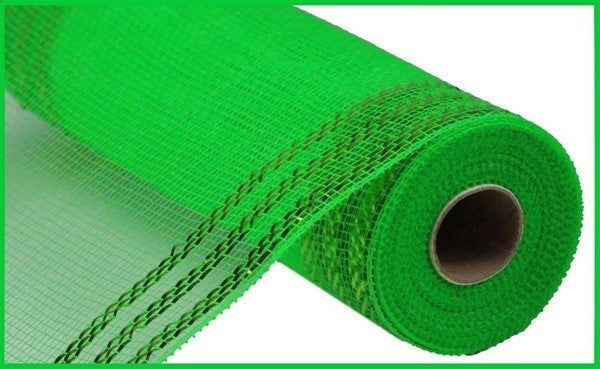 "10.25""X10YD BORDER STRIPE METALLIC MESH Color: Lime Green W/Lime Foil"