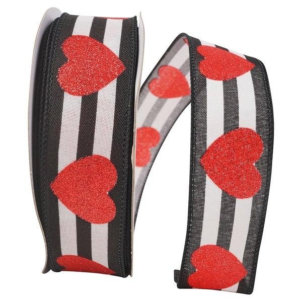 Ribbon - Heart Glitter Stripes Wired Edge, Black/white, 1-1/2 Inch, 20 Yards-BLACK/WHITE