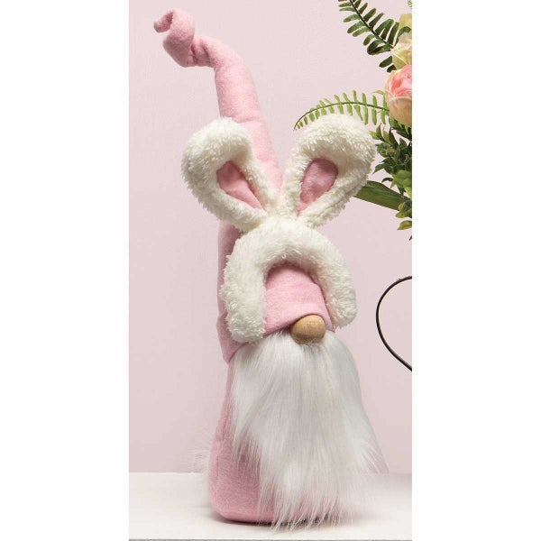 BUDDY BUNNY GNOME WITH BUNNY EARS HEADBAND, PINK HAT, WOOD NOSE