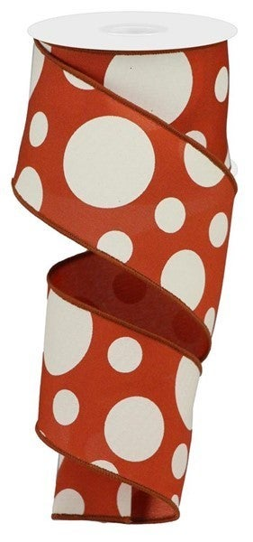 """2.5""""X10yd Giant Two Size Dots/Pg Fabric Rust/Ivory"""
