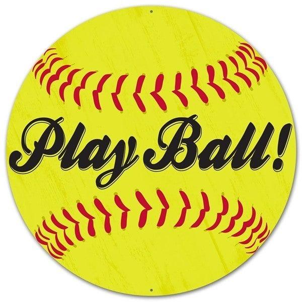 """12""""Dia Metal Play Ball! Softball Sign Yellow"""