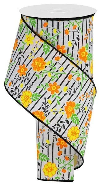 """4""""X10yd Floral Lines On Royal White/Orange/Yellow"""