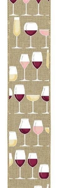 "4""X10yd Wine Glasses On Royal Burlap Color: Lt Bge/Crm/Wht/Gld/Bgdy"