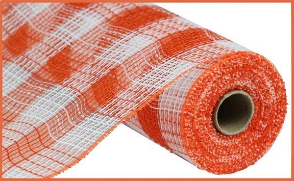 "10.5""X10yd Faux Jute/Pp Small Check White/Orange"