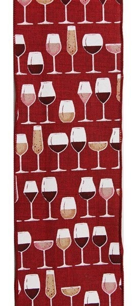 "4""X10yd Wine Glasses On Royal Burlap Color: Brgdy/Crm/Wht/Gld/Pnk"