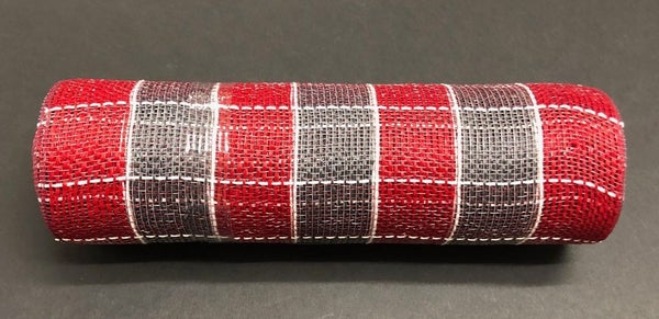 "DK RED/GREY/WHITE SQUARE CHECK MESH 10""X10YD"