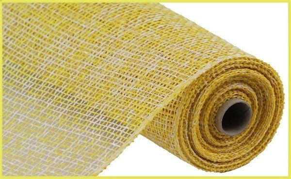 "10""X10YD TWO-TONE POLY BURLAP MESH Color: Yellow/White"