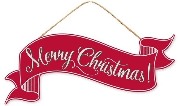 """15""""L X 6.25""""H Christmas Banner Red"""