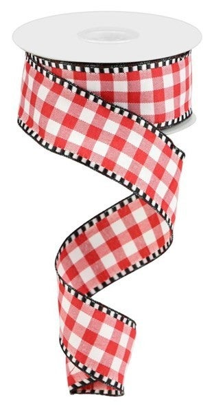 "1.5""X10yd Gingham Check Red/White"
