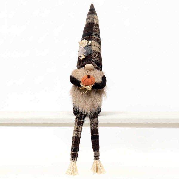 """SCARECROW GNOME HOLDING PUMPKIN WITH WIRED BROWN/TAN PLAID HAT, PATCHES, RAFFIA, WOOD NOSE, BEIGE BEARD & LEGS 4.5""""X3""""X23"""""""