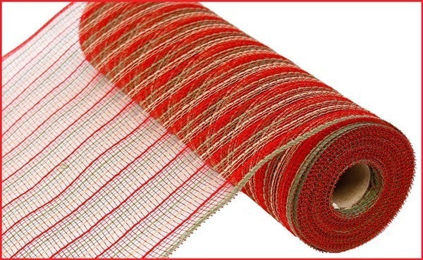 """10.5""""X10yd Poly/Faux Jute Mesh Red/Moss Green/Natural"""