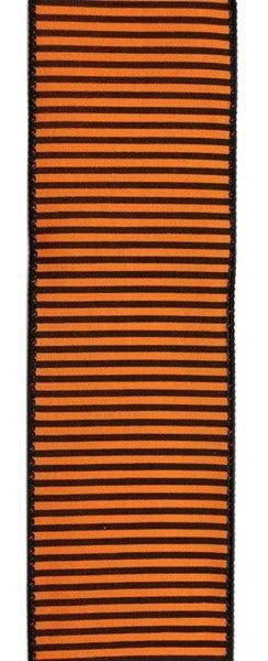 "2.5""X10yd Horizontal Thin Stripes On Pg Orange/Black"