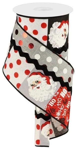 """4""""X10yd 3-In-1 Santa Face/Polka Dot Color: White/Red/Black/Grey"""