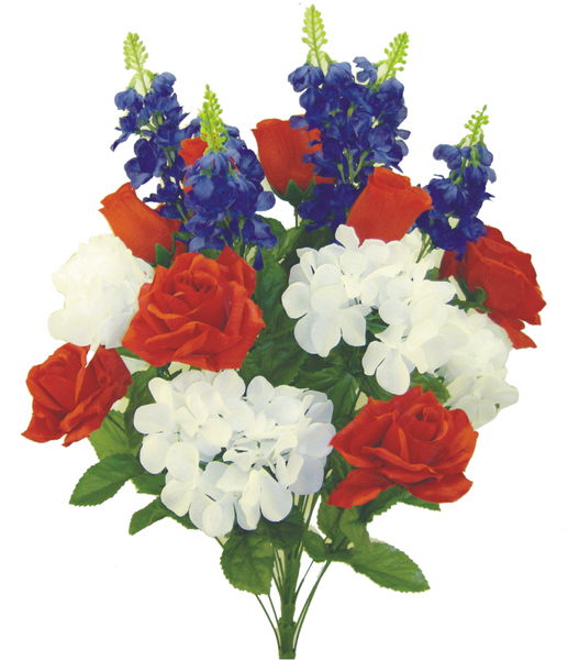 """Rose Hydr Delp Bush X 24, 30""""H Red/White/Blue"""