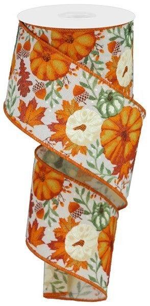 """2.5""""X10yd Pumpkins/Foliage/Fuzzy Ryl Color: Ivory/Must/Orange/Rust"""