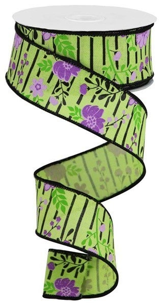 """1.5""""X10yd Floral Lines On Royal Bright Green/Lavender"""