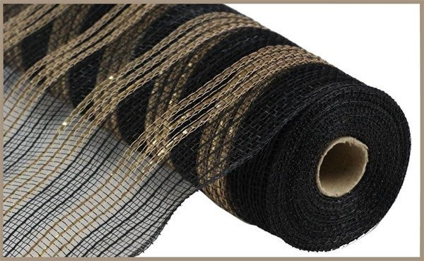 "10.5""X10yd Metallic/Faux Jute/Pp Stripe Black/Gold"