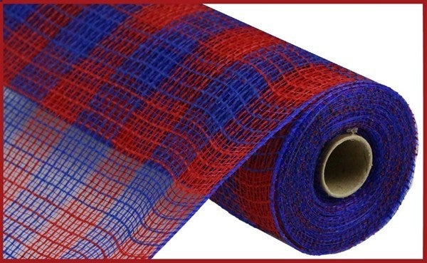 "10.5""X10yd Faux Jute/Pp Small Check Red/Royal Blue"