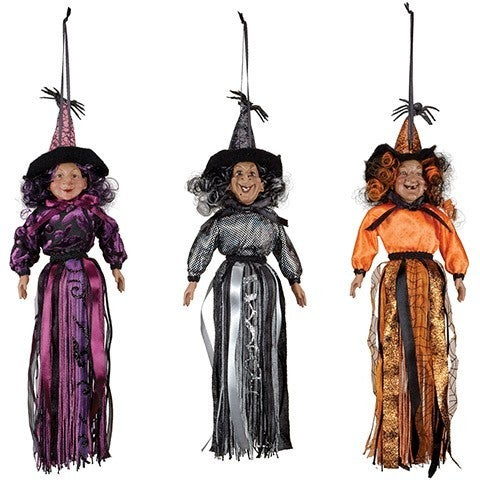 Hanging Witch Tassel: Polyester, 12 Inches, 3 Assorted Styles