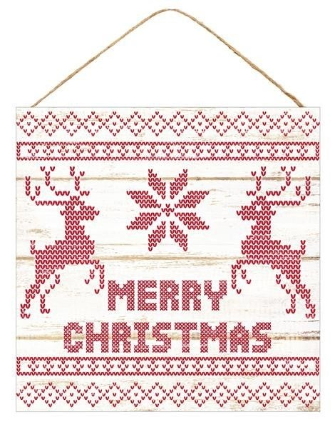 "10""SQ MDF MERRY CHRISTMAS WHITE/RED"