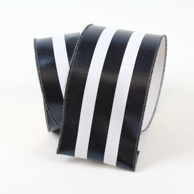 "FOIL VERTICAL STRIPES- 4"" X 10YD / BLACK AND WHITE"