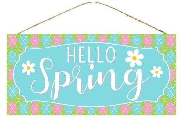 "12.5""L X 6""H Hello Spring W/Flower Sign"