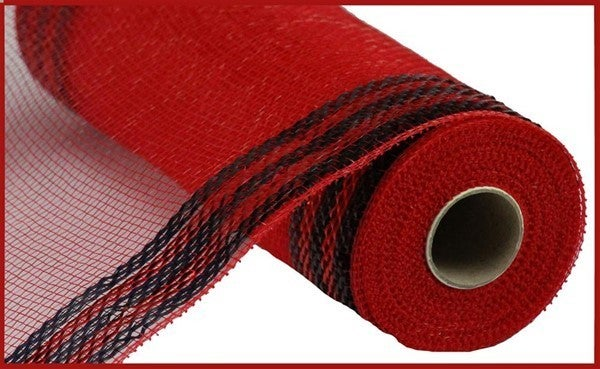 "10.25""X10yd Border Stripe Metallic Mesh Red/Black"
