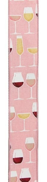 0yd Wine Glasses On Royal Burlap Color: Rose/Crm/Wht/Gld/Pnk