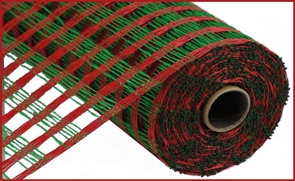 "21""X10yd Poly Burlap Check Mesh Red/Emerald Green"