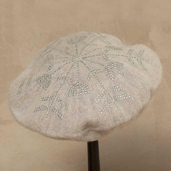 Gray Wool Blend Crystal Snowflake Beret