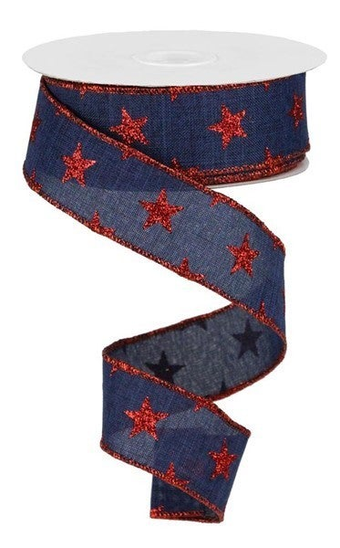 "1.5""X10yd Stars On Royal Navy Blue/Red"