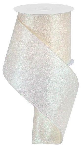 "4""X10yd Iridescent Glitter On Satin Ivory"