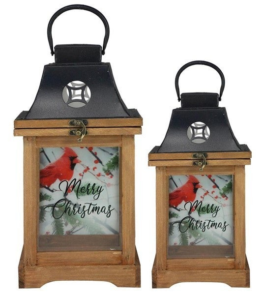 "S/2 13""-17""H Merry Christmas Lanterns Set of 2"