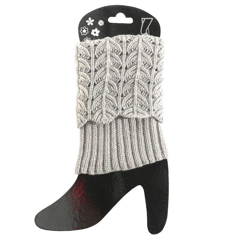 Grey Crochet Boot Cuff Short