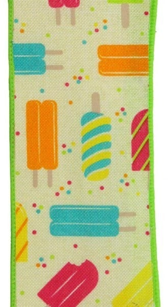 "1.5""X10yd Popsicles On Royal Color: Crm/Pnk/Ylw/Org/Trq/Lime"