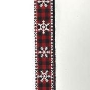 "Black/Red Buff Plaid/White Snowflake 5/8""x10yd"