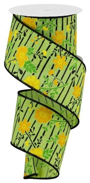 """2.5""""X10yd Floral Lines On Royal Brt Grn/Yellow"""