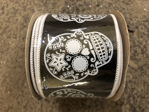 Day Of The Dead Wired Edge, Black/white, 2-1/2 Inch, 10 Yards